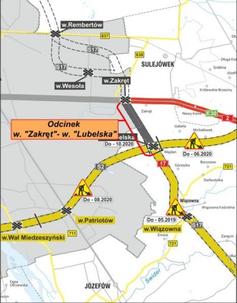 Mapa dróg wokół Warszawy - przebieg S17