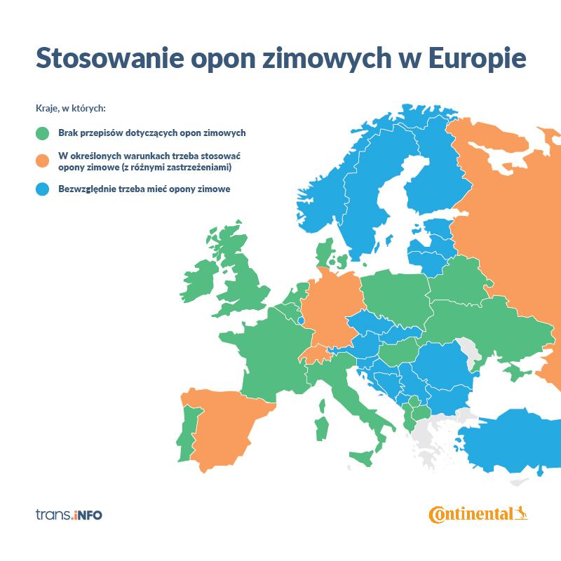 Stosowanie opon zimowych w krajach Europy