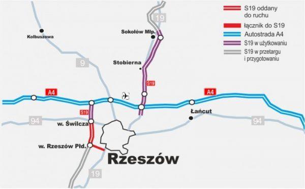 Mapa stanu realizacji drogi ekspresowej S19