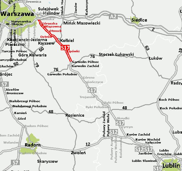 Odcinek planowanej drogi ekspresowej S17