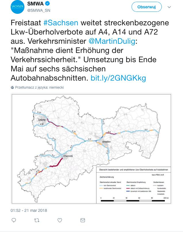 Neue Überholverbote für Lkw in Sachsen